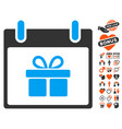 gift box calendar day icon with dating bonus vector image
