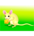 Mouse cartoon with cheese vector image
