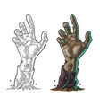 zombie hand with claw black vintage vector image