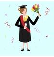 graduation female woman holding bouquet flower vector image