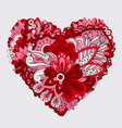 red floral heart doodle decorative element vector image