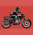 hand drawing style man riding classic motorcycle vector image vector image