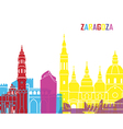 Zaragoza skyline pop vector image vector image