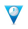 escalator icon map pointer3 blue vector image