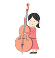 girl playing violoncello isolated on white vector image