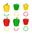 set of chopped red yellow green bell pepper flat vector image