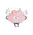 Brain Feeling Dizzy Comic Character Representing vector image