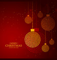 red background made with golden christmas balls vector image