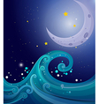 An image of the sea waves with a moon vector image