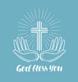 god bless you handwritten lettering church vector image vector image