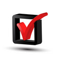 3d tick symbol red and black checkbox icon vector image