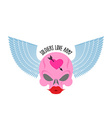 Logo logo of soldier of love Pink skull with large vector image