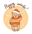 happy winter greeting card vector image vector image