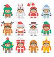 Christmas costumes kids vector image