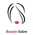 hair salon sign with woman silhouette vector image