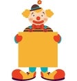 Clown with blank board isolated on white vector image