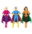 three beautiful girls in superhero costume vector image