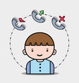 boy with phone call icons app vector image