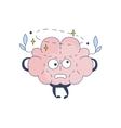Brain Feeling Dizzy Comic Character Representing vector image