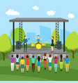 cartoon open air festival and landscape background vector image