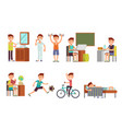 child boy daily routine set vector image