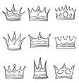 crown sketch various doodle set vector image