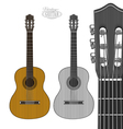 Guitar in engraving style vector image