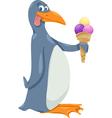 penguin with ice cream cartoon vector image