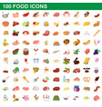 100 food icons set cartoon style vector image