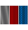 metal perforated backgrounds red blue and silver vector image