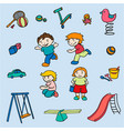 sketch colored children amusements collection vector image