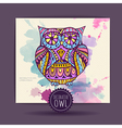 Card with decorative owl and watercolor stain vector image