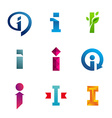Set of letter I logo icons design template vector image