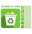 Full Recycle Bin Icon and Medical Longshadow Icon vector image