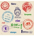 Set of real stamps from Berlin Wall vector image