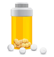 yellow jar with the pills vector image vector image