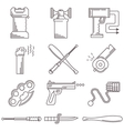 Black line icons for self defence vector image