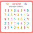 circle every number four numbers for kids vector image