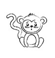 figure cute monkey wild animal with face vector image