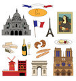 hand-drawn paris landmarks and food colorful set vector image