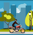 motorcyclist racing on bike in city vector image