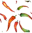 Red chili pepper isolated on white seamless vector image