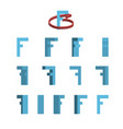 Sheet of sprites rotation of cartoon 3d letter f vector image