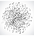 Abstract musical dot with black notes on white vector image