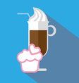 A glass of coffee with ice cream and straw vector image