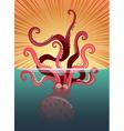Giant octopus under the ocean vector image