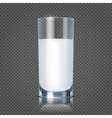 Glass of milk isolated on transparent checkered vector image