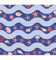 seamless pattern with waves stars and jellyfish vector image