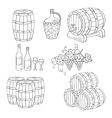 Wine barrels set vector image