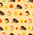 autumn seamless texture with hedgehogs and leaves vector image